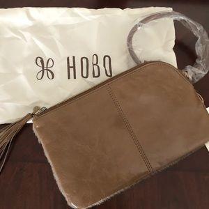 HOBO Bags - HOBO Sable Hair On Hide Fringe Wristlet - Biscotti